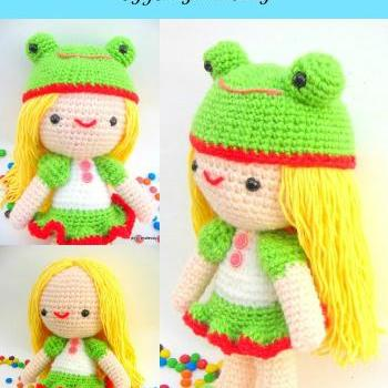 pdf girl kelly with frog hat amigurumi crochet pattern-luulla